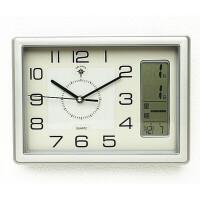 挂钟客厅大万年历电子钟现代钟表简约方形时钟卧室挂表 12英寸