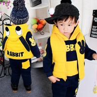 1一3-5岁儿童装冬季新款小男童卫衣三件套男宝宝冬装加厚加绒套装