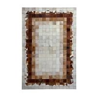欧式几何牛皮拼接地毯门厅客厅茶几垫卧室床边毯定制长方形毯 QG04