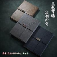 商务笔记本子可定制简约线装记事本金属搭扣皮面本A5礼盒套装日记本