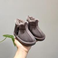 【活动价:96】2019年冬季新款女童雪地靴韩版真皮羊毛儿童保暖防滑棉靴男童靴子