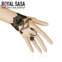 皇家莎莎Royalsasa欧美时尚复古配饰品女手链带戒指一体套装新娘款07SP034