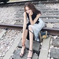 欧根纱雪纺连衣裙女夏2018新款长裙ins超火的冷淡风温柔超仙裙子 黑白色CQ931