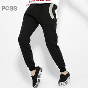 【不退不换】PASS原创潮牌冬装 时尚撞色口袋黑色加厚抓毛卫衣面料休闲裤女6541961200