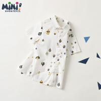 【3件2折:35.8】铅笔俱乐部童装2020夏装新款男童短袖衬衫小童宝宝上衣儿童衬衫潮
