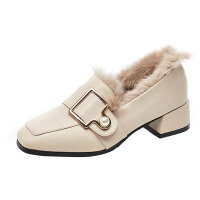 毛毛鞋女冬季加绒外穿粗跟网红中跟英伦复古方头百搭ins小皮鞋女lkf