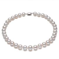 珠宝 正圆强光淡水白色真珍珠项链正品送妈妈锁骨链