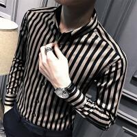 衣韩版秋装英伦男士衬衣男装潮秋季长袖衬衫男修身休闲条纹寸