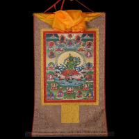 西藏镀金烫金挂画像藏传绿度母二十一度母唐卡佛像供奉佛堂装饰画