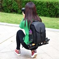 双肩摄影包大容量单反相机包背包 全黑 大号+防雨罩