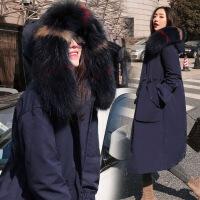 气质大摆羽绒服女2018冬装新款韩版收腰显瘦大毛领派克服大衣羽绒衣潮 藏青色