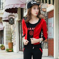 春季休闲运动套装女时尚韩版修身显瘦运动服女大码卫衣三件套跑步