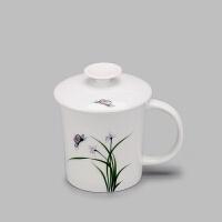陶瓷茶杯手绘梅兰竹菊陶瓷水杯盖悬挂茶壶一体马克杯瓷花茶杯 201-300ml