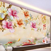 墙贴纸3d电视背景墙壁纸立体无纺布墙纸无缝壁画卧室客厅玉兰花