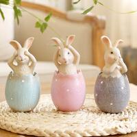 年货旦礼物创意动物三不兔子摆件田园欧式工艺礼品乔迁家居装饰
