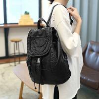 2018水洗皮双肩包女学院风韩版中学生书包大容量软皮旅行背包