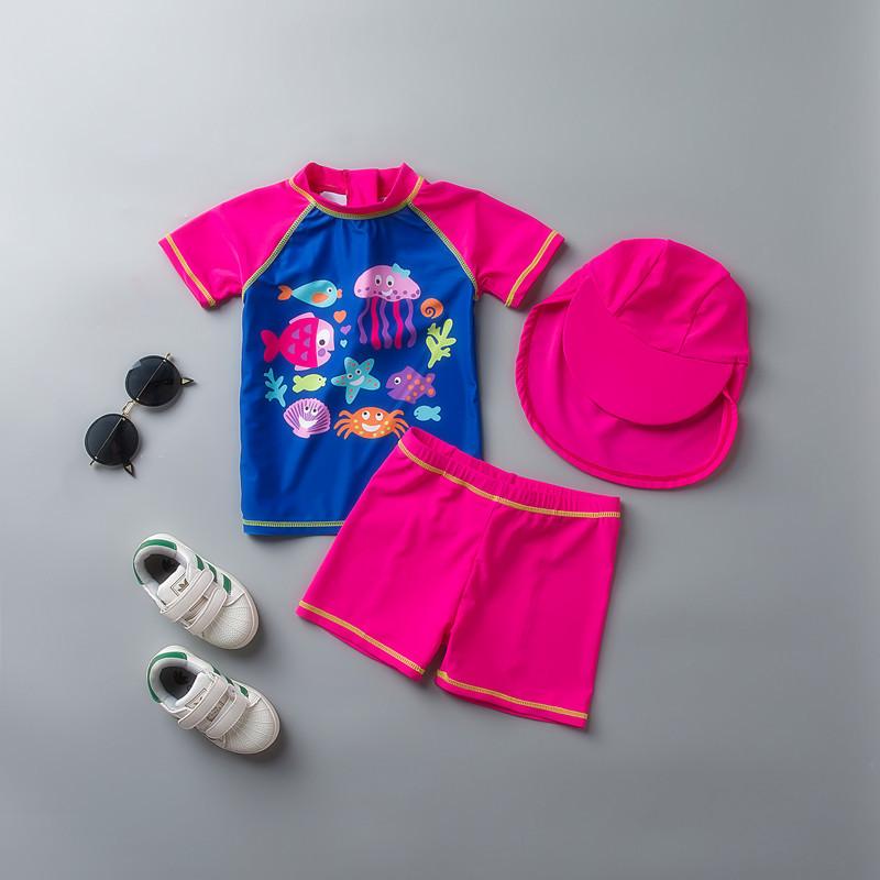 出口英国儿童泳衣女童宝宝婴儿冲浪服分体防晒防紫外线游泳衣套装 HX-1736+防晒帽 发货周期:一般在付款后2-90天左右发货,具体发货时间请以与客服协商的时间为准
