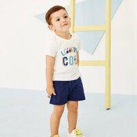 moomoo童装男幼童套装2018夏装新款小宝宝儿童短袖短裤两件套