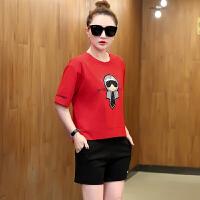 夏天运动套装女潮2018新款时尚韩版学生宽松卫衣短裤休闲两件套 红色 女士M建议85斤-98斤