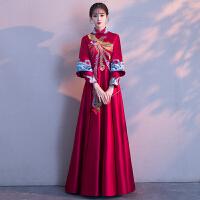 中式婚纱礼服女2018新款宫廷公主嫁衣复古中国风新娘敬酒服秀禾服 酒红色