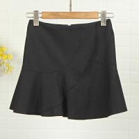迪系列剪标女装新款冬7L8482学院风拼贴不对称纯色时尚短裙