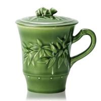 乾唐轩活瓷杯正品大竹节高杯360ml陶瓷商务办公泡茶水杯子盖杯