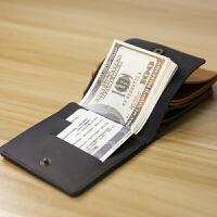 手工男士薄款钱包 牛皮零钱包简约 迷你短款皮夹横款小钱包