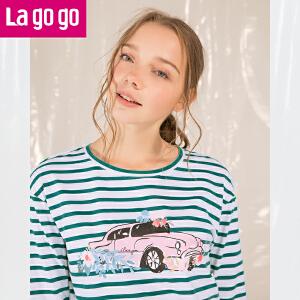 Lagogo2018年春季新款白绿色海魂衫条纹印花上衣九分袖圆领T恤女
