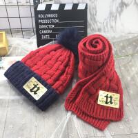 儿童帽子冬季围巾两件套装加绒护耳宝宝毛线帽保暖男童女童针织帽 均码