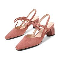 WARORWAR法国 2019新品YGN020-H08-2夏季韩版磨砂绒面中跟粗跟女鞋潮流时尚潮鞋百搭潮牌凉鞋女