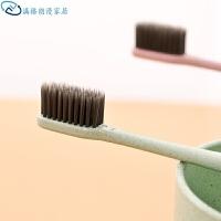 韩国小麦秸秆软毛牙刷 竹炭小头家用情侣旅行便携式中毛细毛