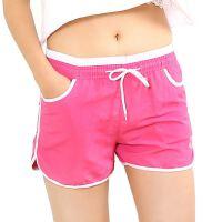 运动短裤女士夏季速干休闲裤宽松大码跑步热裤糖果色沙滩裤