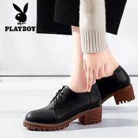 Playboy/花花公子 女鞋2017秋季新款英伦风女鞋圆头系带高跟鞋粗跟小皮鞋 N159730403