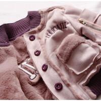 皮毛一体加厚鹿皮绒毛夹克 男女童宝宝保暖休闲夹克宝宝加绒外套