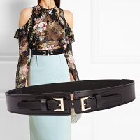 双扣牛皮窄腰封真皮女式腰带时尚真皮皮带连衣裙装饰皮带女士腰带