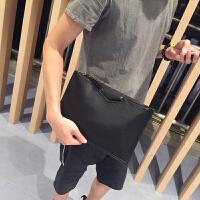 韩版男士手拿包个性时尚休闲单肩包斜跨包潮流百搭包商务包手抓包 黑色