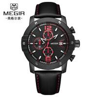 男士手表 新款多功能计时日历真皮石英机芯男士手表