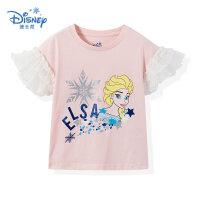 【99元3件】迪士尼冰雪奇缘童装女童夏装2020春夏新品短袖印花T恤粉色