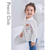 【2件1.5折价:19.2元】铅笔俱乐部童装2021春秋女童长袖衬衫小女孩衬衣儿童休闲上衣