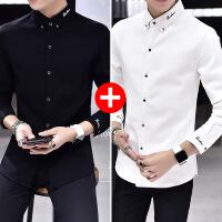 男士长袖衬衫2018秋季新款韩版学生寸衫帅气黑色加绒加