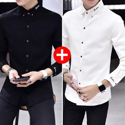 男士长袖衬衫2018秋季新款韩版学生寸衫帅气黑色加绒加 发货周期:一般在付款后2-90天左右发货,具体发货时间请以与客服协商的时间为准