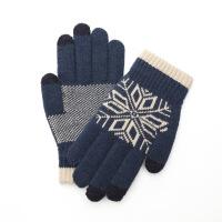 羊毛触屏手套男女冬季保暖加绒韩版针织毛线户外骑行开车全手防寒 均码