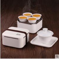 迷你精致白瓷车载旅行盖碗品茶茶杯套装袋户外旅游便携功夫茶具