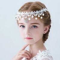 女童发饰额头链女孩韩式蕾丝公主头饰花童额饰吊坠仿珍珠儿童饰品98 白色