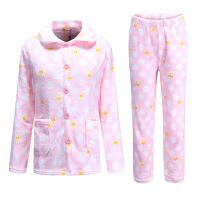 睡衣女冬套装家居服秋冬季加厚法兰绒开衫珊瑚绒长袖粉色韩版大码