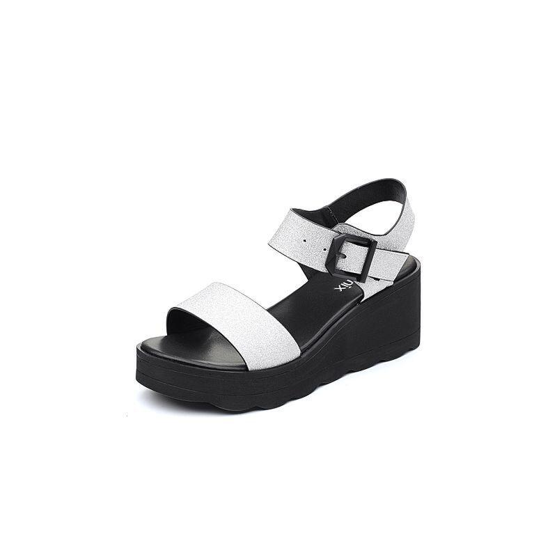 Teenmix/天美意2018夏简约一字带舒适坡跟女凉鞋20701BL8