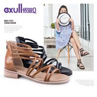 依思q夏季新款时尚罗马带女鞋休闲百搭粗跟低跟凉鞋