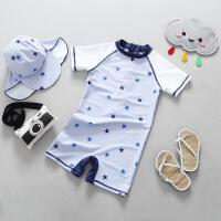 出口星星泳衣2018夏新款男童短袖防晒冲浪服儿童裤套装带 宝蓝色