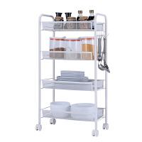厨房置物架落地多层卧室可移动带轮收纳架子浴室小手推车 5层 三代篮推车 白