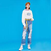 【初语年货节,3折价:209.1】初语直筒牛仔裤女2019春装新款破洞窟窿亮片拼接水洗宽松阔腿长裤